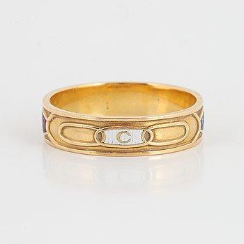 18K gold and enamel Odd Fellow ring.