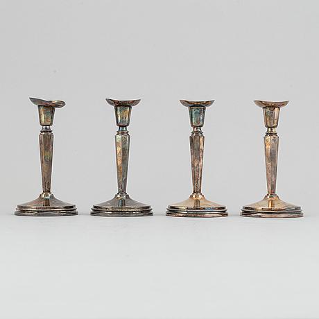 Ljusstakar, 4 st, silver, k.g. markströms guldsmeds ab,  uppsala, 1972.