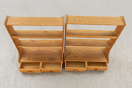 A pair of 1950s pine wall shelves possibly carl malmsten.
