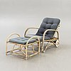 A josef frank rattan and bamboo easy chair with stool mid 1900s.