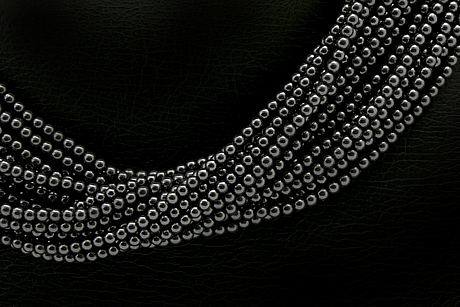Ole lynggaard, 2 necklaces, 8 rows of hematite beads, approx 40 cm, no clasp.