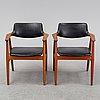 Erik kirkegaard, a pair of mid 20th century armchairs for  høng stolefabrik, denmark.