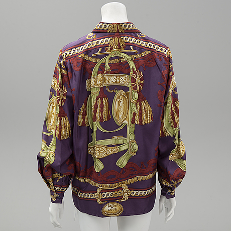 Hermès, a 'bride de cour' silk blouse, size 42.
