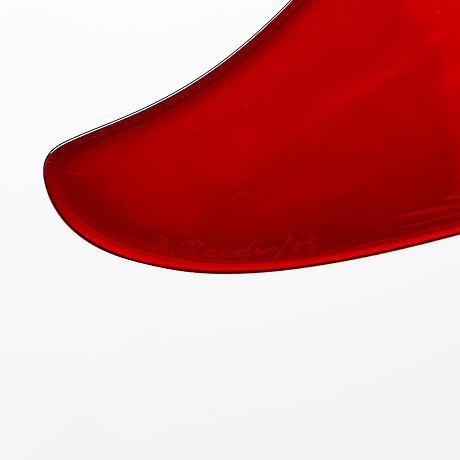 Brita flander, a unique glass sculpture, 'red', the 'seraphim' series, signed b. flander / us. nuutajärvi 1995.