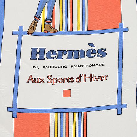 Hermès, an 'aux sports d'hiver' silk scarf.