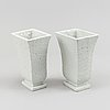 Gunnar nylund, a pair of two stoneware vases, röstrand, sweden.