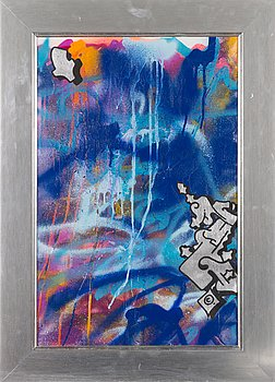 "Magnus ""NUG"" Gustafsson, spray paint on canvas."