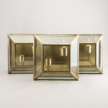 A set of three brass ceiling lamps later part of the 20th century.