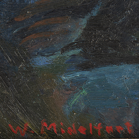 Johan wilhelm midelfart, oil on panel, signed.