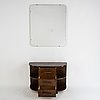 A stained birch chest of drawers and mirror, 1930's.