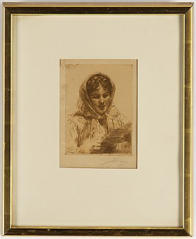 Anders Zorn, etsning, 1913, signerad i blyerts.