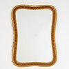 A teak and rattan mirror, 1950's.