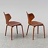 Arne jacobsen, a set of six 'grand prix' chairs for fritz hansen, denmark, 1950's-60's.