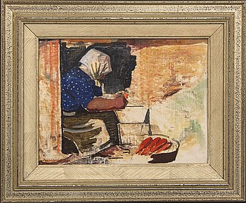 Axel Olson, oil on panel signed and dated 45.