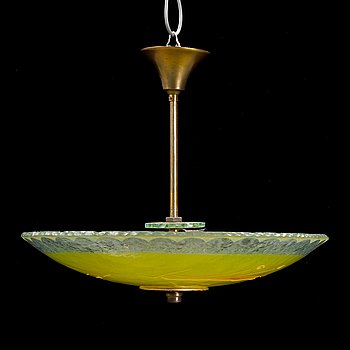 A glass ceiling light, 1930's/40's.