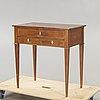 A swedish late gustavian mahogany table around 1800.