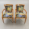 A pair of walnut armchairs mid 1900s.