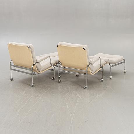 Bruno mathsson, armchairs, a pair, 'karin', dux, second half of the 20th century.