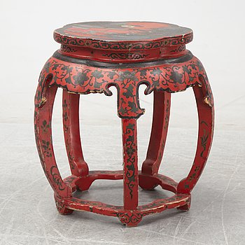 A Chinese red lacquer stool, first half of the 20th century.