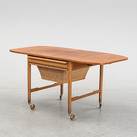 Bertil fridhagen, a teak veneered sewing table from bodafors, 1961.
