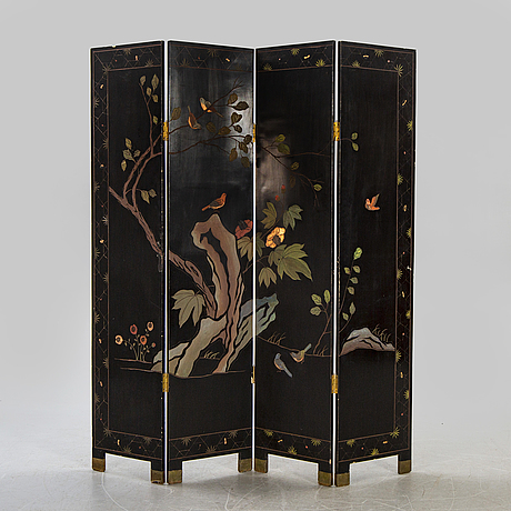A japanese painted folding scree later part of the 20th century.