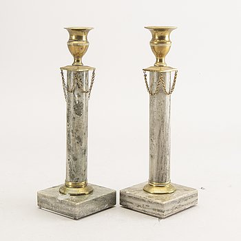 A pair of marble late Gustavian candle sticks first half of the 19th century.