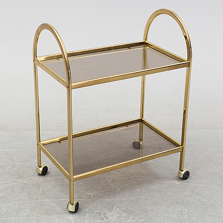 A brass and glass trolley, second half of the 20th century.
