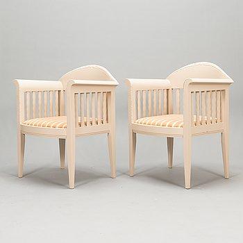 Eliel Saarinen, a pair of armchairs 'White Suite' series (Hvitträsk), Adelta 1980s.