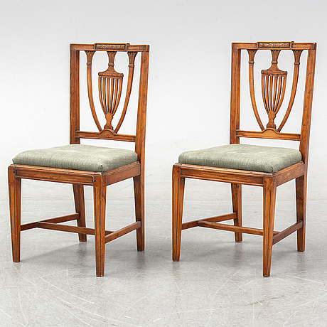 A pair of late gustavian chairs by johan melchior lundberg, ca 1800.