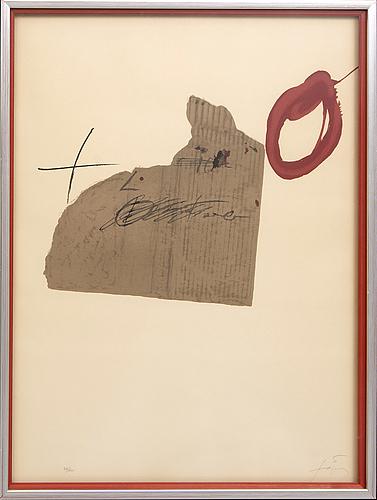 Antoni tàpies, coloured lithograph, signed 23/150.