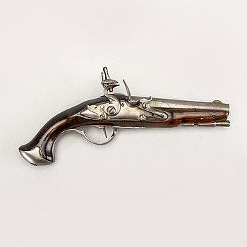 Pistol flintlås, sannolikt Belgien / Frankrike, 1700-talets senare del.