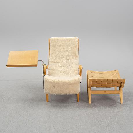 Bruno mathsson, a 'pernilla' armchair and a stool, karl mathsson, värnamo, 1950's/60's.