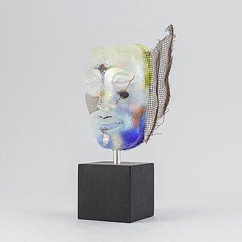 Claes Uvesten, a unique glass sculpture, signed.