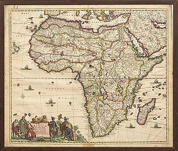 Frederik de Wit, map Africa, hand coloured copper engraving, Amsterdam c 1690.