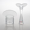 """Timo sarpaneva, a candlestick """"valentine"""", a pair of candlesticks """"ascot"""" and a vase """"marcel"""", iittala."""