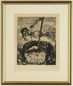 Marc Chagall, etching, 1952, signed in pencil.