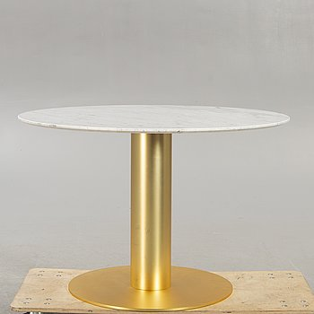 A Gubi marble and brass dining table 21st century.