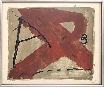Antoni Tàpies, färglitografi med relief / prägling, signerad 61/100.