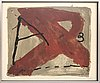 Antoni tàpies, colour lithoraph with embossing, signed 61/100.