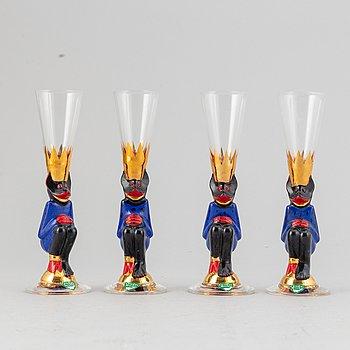 """Gunnar Cyrén, snapsglas, fyra stycken """"Smådjälvar"""", """"Nobel"""", Orrefors."""