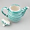 """Servisdelar, 11 st, """"green flamed"""", gmundner keramik, österrike, 1900-talets andra hälft."""