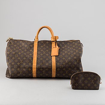 Louis Vuitton, a monogram canvas 'Keepall 55' weekend bag and toilet bag.