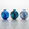 Helena tynell, a set of three sun bottles for riihimäen lasi oy. produced 1964-1974.