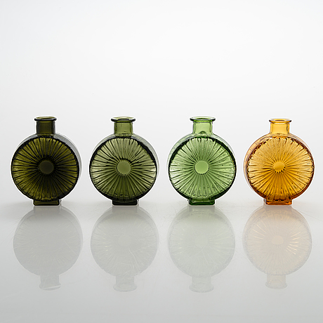 Helena tynell, a set of four sun bottles for riihimäen lasi oy. produced 1964-1974.