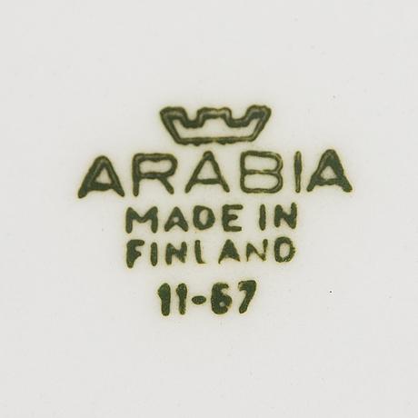 "Raija uosikkinen, a set of two faience ""pomona"" fa-jars, and three ""pomona"" trays, arabia, 1960-/70s."