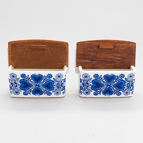 "Raija uosikkinen, two faience wall jars ""sirpa""for arabia, 1960s."