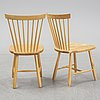 Carl malmsten, a set of six 'lilla åland' chairs for stolab 1998.