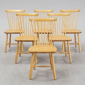 Carl malmsten, stolar, 6 st, 'Lilla Åland', Stolab 1998.