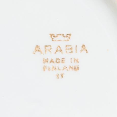 Kannuja, 5 kpl, fajanssia, arabia, 1930-40-luku.