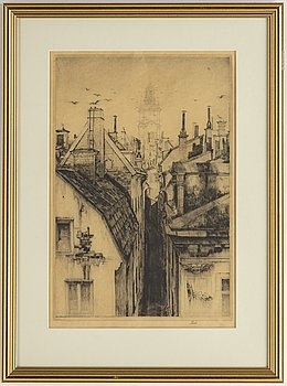 Axel Fridell, drypoint etching, 1932, signed in pencil.